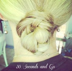 "This 30 Second braided bun helps get you out of the ""Pony Tail Rut"". www.beautyandbedlam.com"