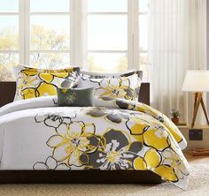 Black white gray and yellow large floral bedding