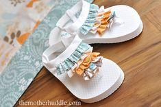ruffled flip flops