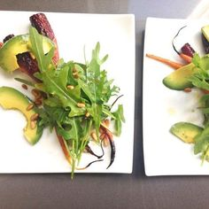 Salad to make your skin glow - Citrus Roasted Carrot Salad with Avocado Spicy Greens and Toasted Pine Nuts
