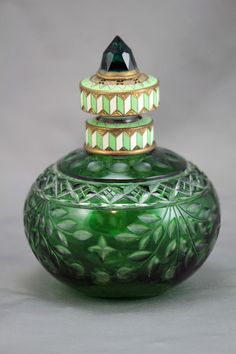 Green:  #Green Austrian Art Deco Jeweled and Enameled Perfume Bottle.