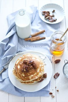 The perfect September long weekend breakfast: Cinnamon Pancakes with Caramelized Pecans. #pancakes #breakfast #caramel #pecans #cooking #food #beautiful #baking #dessert