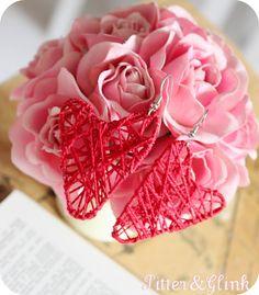 Paper clip & string heart earrings