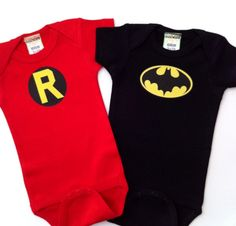 Batman and Robin Onesie and Tee set. $23.00, via Etsy.  Would be so cute for twin boys!