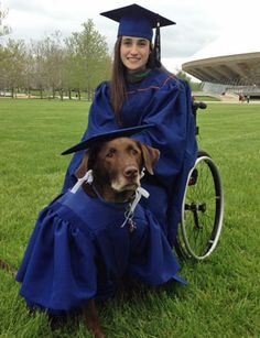 'Service dog wears cap and gown at graduation' | MNN - Mother Nature Network  ~ Bridget Evans' service dog, Hero, attended all her classes, so she thought he deserved to graduate too.