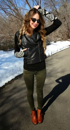 Black Leather Vest With Ray Bans and Green Skinnies