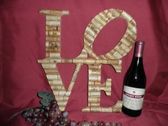 Wine Cork Decoration LOVE. $129.00, via Etsy.