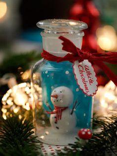 Snowman in a jar.