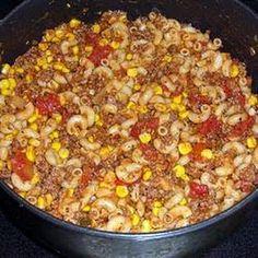 ½C uncooked elbow macaroni 1½lb ground beef 1t  garlic powder 1-8oz can tomato sauce 1c stewed  diced tomatoe 1-15oz corn drain salt & pepper chopped onion Cook pasta, drain Saute ground beef  5 min Add the onion-saute Season w garlic powder salt/pepper Add tomato sauce stewed or diced tomatoes corn& cooked macaroni Stir Heat through5- 7 min  Added alot of sarachi chili for spice salad, cups, ground beef, tomato sauce, dinners, breads, garlic bread, easi dinner, hillbilli dinner