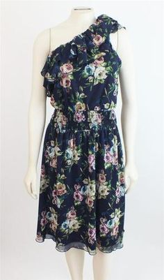 Torrid Plus Size 2 Blue Floral One Shoulder Ruffle Dress 2X 18/20 New