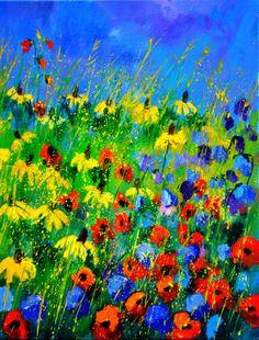 """Artist: Pol Ledent; Oil, 2012,  Painting """"Wild flowers 452180"""""""
