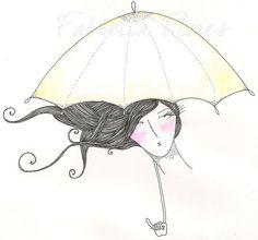 guarda-chuva, garotas, ilustração, cabelos