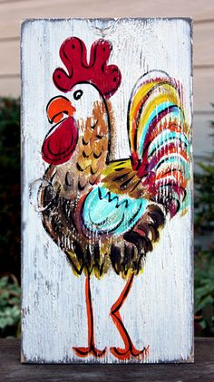 Rustic Rooster Painting