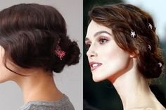 How to Get Keira Knightley's Romantic, 'Stars in Eyes' Updo creating waves with a curling iron, a Mason Pearson brush, pins and hair spray.