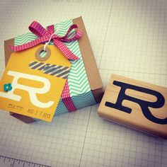 Melody Hyde carved this monogram stamp for her friend Robyn's birthday.