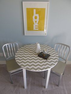 I've been looking for a way to make our kitchen table a little more attractive!  Duh, Becca, paint it!