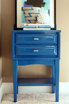 Gloss blue nightstand using oil-based paint