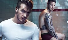 David Beckham strips down to festive plum-coloured boxers for H&M