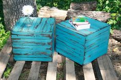 worn barn wood re-purposed for outdoor living space tables - screened in porch