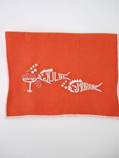 """Custom embroidered """"they drink like fish"""" cocktail napkins"""