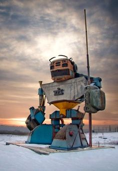 Giant Robot made from old cars somewhere in Odessa.