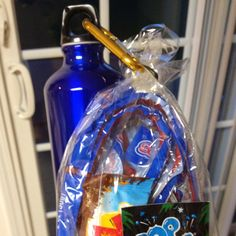 Rock Climbing Party Goody Bag:  Licorice Ropes Pop Rocks Kid Cliff Bar Attached to Aluminum water bottle with carabiner clip.