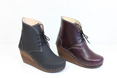 Maguba Casablanca Wedge Clog Boot In Bordeaux Leather