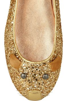 Marc by Marc Jacobs|Glitter-finish leather mouse ballet flats|NET-A-PORTER.COM