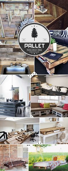 Pallet Home Decor Ideas - great collection of pallet projects & tutorials.