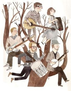 The Decemberists ( Drawing by Carson Ellis )