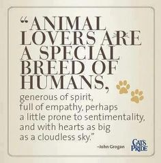 Animal lovers...