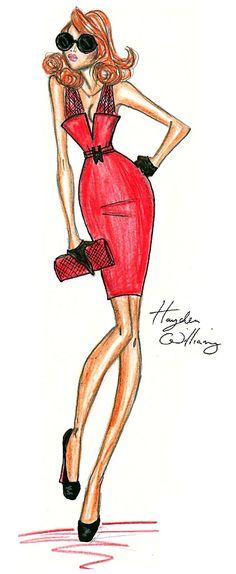 Hayden Williams red fashion dress illustration