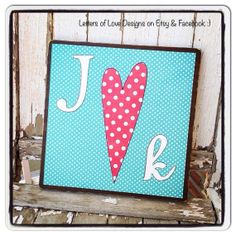 Custom for You  Square Initials Sign great for wedding gift, shower, or wedding decor for the Mr. and Mrs / Bride and groom.  Initials, heart and love. :)