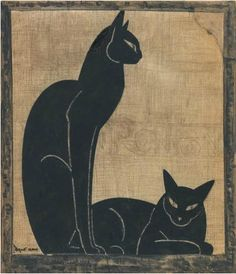 Drawing by Jacques Lehmann dit Nam (1881-1974), ca 1920-25, Two black cats, Ink with white gouache and charcoal, Cachet d'atelier.