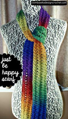 Just be Happy Scarf - Free Crochet Pattern #freepattern #crochet #scarf