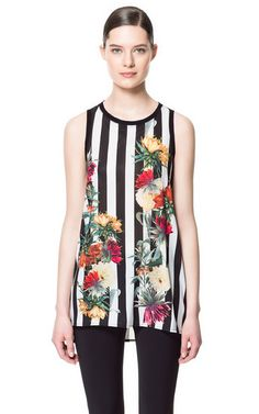 50 Under $50 Ways to Top Off Your Summer Wardrobe: Zara's Stripe and Floral Combination Top is a great summer going out top. #summer #style