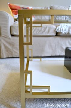 Ikea Vittsjo Coffee Table: Gold + White Greek Key Makeover