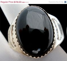 Big Sale Sterling Silver Black Onyx Ring by TheJewelryLadysStore, $90.00