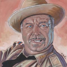 Sheriff Buford T. Justice from Smokey and the Bandit Done on 6x6 inch Aquabord with Winsor & Newton Gouache Paints