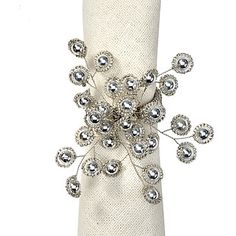 Firethorn Napkin Ring, Napkin Rings, Tableware, Z Gallerie, A silver-toned metal framework highlights a scattering of silver beads to create a shimmering constellation in which to embrace your napkins