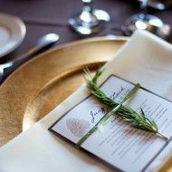 Purple & gold table setting, with a touch of nature.
