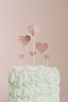 silver glitter hearts cake topper and mint soft iced cake | www.onefabday.com cake toppers