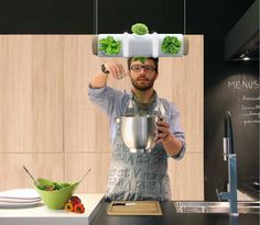 hanging kitchen herb garden doubles as light fixture