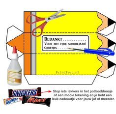 Op zoek naar een leuk bedankje voor de meester of juf zo aan het einde van het schooljaar? Dit leuke DIY knutsel potlooddoosje is gratis te downloaden bij www.PrintPret.nl