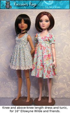 "PDF sewing pattern and full tutorial for 16"" Ellowyne Wilde and friends  Luts Kid Delf.   #005 Tunic and dress."