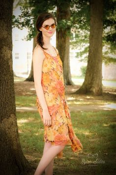 1920s Floral Chiffon Flapper Dress | The Lawn Party Collection from ~ Raleigh Vintage ~