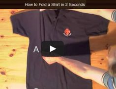 """Ready, Set, Go! How to Fold a Shirt in Under Two Seconds  Here is a YouTube how-to expert who has come up with the perfect tutorial for speeding up the sometimes-tedious activity of folding shirts. If you take his advice in """"How to Fold a Shirt In Under 2 Seconds"""" and follow the steps to a T,' you, too, can fold a shirt in under 2 seconds!  #DIY #Fashion"""