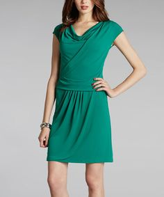 Take a look at this Pine Green Cowl Neck Dress by Muse on #zulily today!