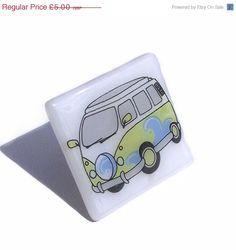 Black Friday Sale VW Camper Van Brooch in White Glass £4