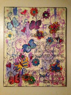 """Next step on Etsy, $50.00 22""""x28"""" canvas doodle """"The butterfly does not look back at the darkness which was the cocoon. Only ahead towards the next petal"""""""